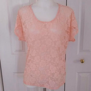 Forever 21 Sheer Pink Lace Dolmen Sleeve Top S/P